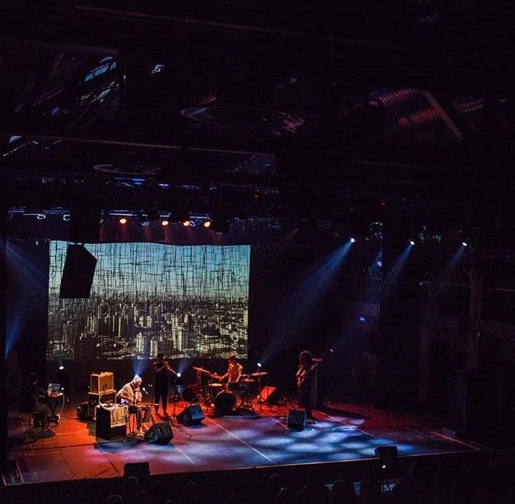 Sao Paulo, Brazil, August 30-Sept 1, 2018. L-R: Heike Liss (visuals), Fred Frith, Susana Santos Silva, Jordan Glenn, Jason Hoopes