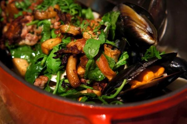 Bar-Roque Grill Amara Hotel - Chef Stephane Istel & Kori Millar - Vongole, Mussels, Mushrooms & Garlic Pork Sausage in White Wine