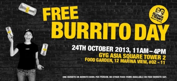 Guzman y Gomez Mexican Taquería - Asia Square Tower 2 - Free Burrito Day 24 October 2013