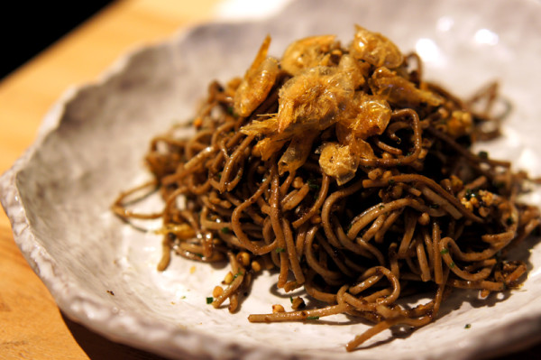 Portico Singapore - Chef Leandros Stagogiannis - Kombu Soba Noodles with Roasted Buckwheat, Truffle & Crispy Browmn Shrimp