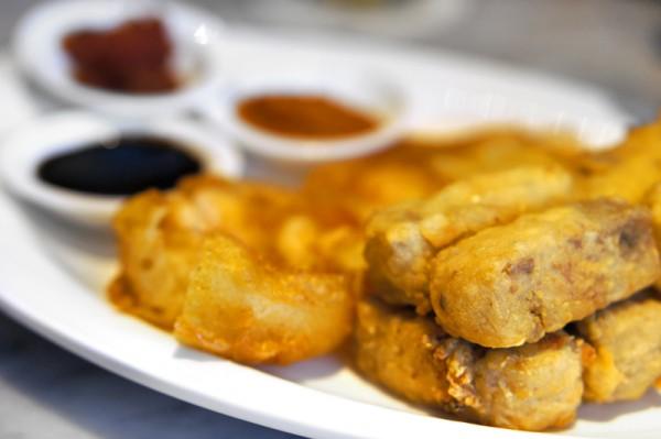 Ujong Raffles Hotel - Chef Shen Tan The Wok & Barrel - Carrot Cake Terrine with Crispy Prawn Fritters