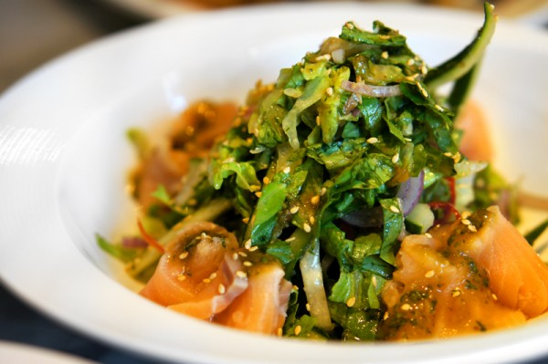 Ujong Raffles Hotel - Chef Shen Tan The Wok & Barrel - Yusheng Salmon Ceviche and Salad