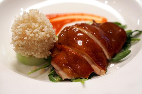 Jiang-Nan Chun Four Seasons Singapore - Four Great Beauties of China - Smoked French Spring Poussin with Crispy Rice Ball