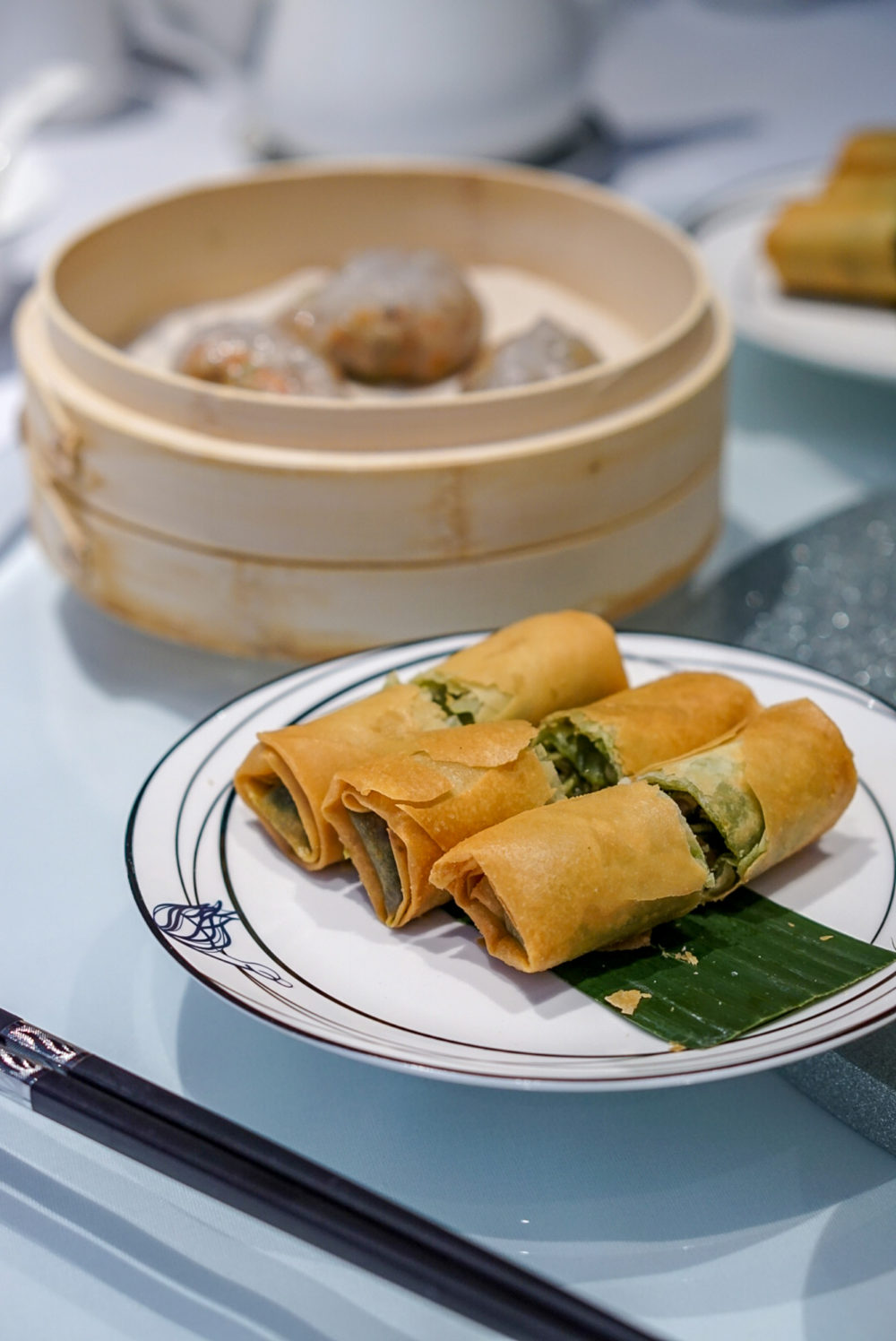 Forbidden Duck Singapore by Demon Chef Alvin Leung - Pesto Duck Spring Roll and Steamed Black Truffle & Duck Tongue Dumpling