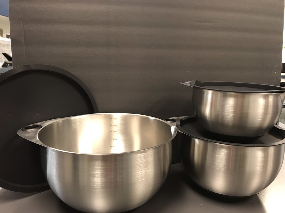 Pampered Chef Stainless Steel Mixing Bowl Set - value $100