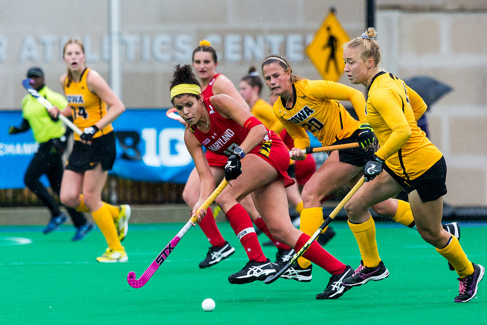 Maryland Forward Linnea Gonzales chases down the ball during the Championship Game in the Big Ten Field Hockey Tournament at Lakeside Field in Evanston, IL on Sunday, Nov. 3, 2018. The no. 2 ranked Terrapins defeated the no. 8 ranked Hawkeyes 2-1.