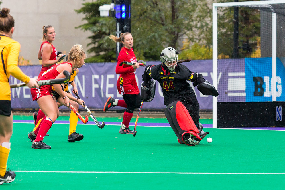 Maryland Goalkeeper Sarah Holliday kick-saves the ball during the Championship Game in the Big Ten Field Hockey Tournament at Lakeside Field in Evanston, IL on Sunday, Nov. 3, 2018. The no. 2 ranked Terrapins defeated the no. 8 ranked Hawkeyes 2-1.