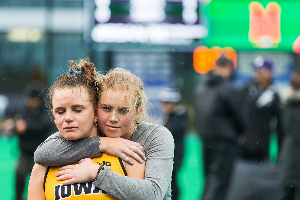 Iowa goalkeeper Leslie Speight hugs Iowa forward Maddy Murphy after the Championship Game in the Big Ten Field Hockey Tournament at Lakeside Field in Evanston, IL on Sunday, Nov. 3, 2018. The no. 2 ranked Terrapins defeated the no. 8 ranked Hawkeyes 2-1.