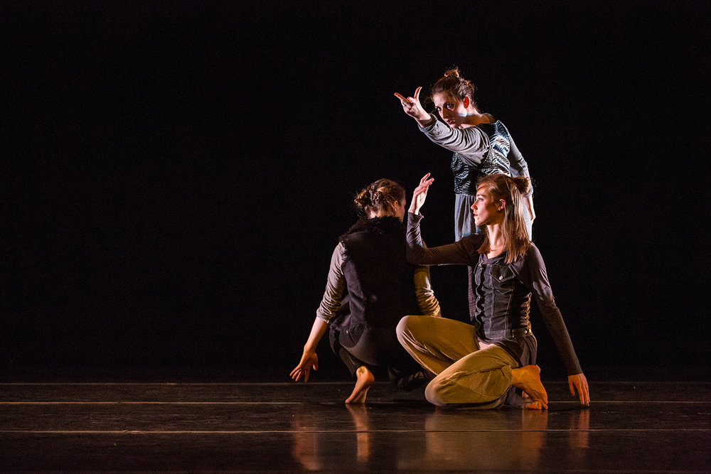 Undergraduate and Graduate students in the University of Iowa College of Dance perform in the Faculty/Graduate Concert dance performance at Space Place Theater on Wednesday, Feb. 7, 2018.