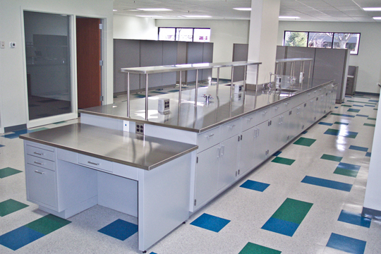 stainless steel counter in a laboratory
