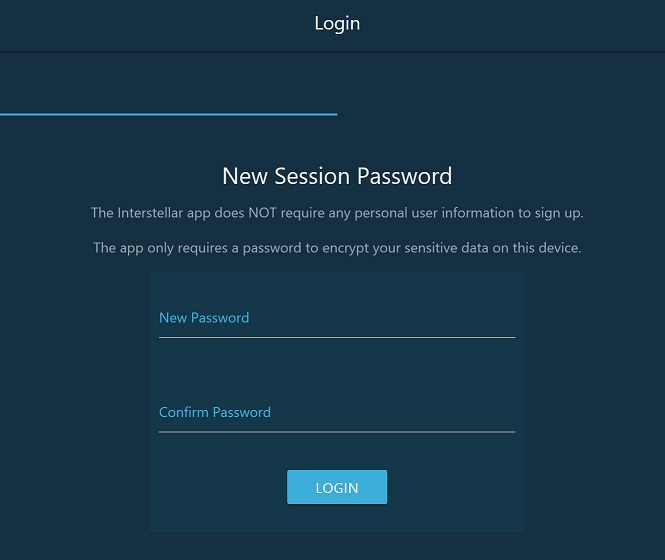 """New Session Password. Think of this like a """"pin code"""" that will prevent someone (who gains access to your device/computer) from getting into your wallet."""