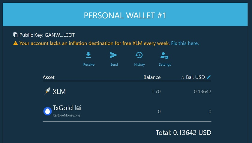 Home page of the Wallet. TxGold has been added a trusted asset!
