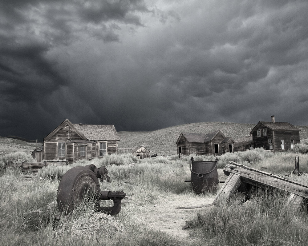 GHOST TOWN, WIDE SHOT.  Bodie Ghost Town, California.