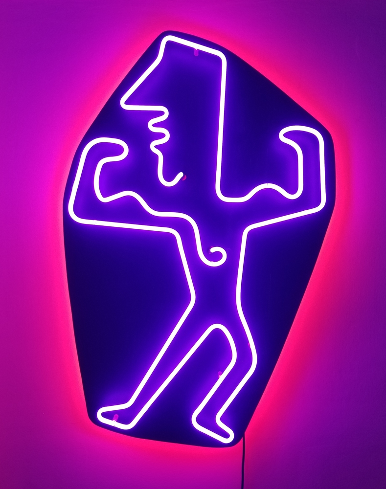 "MUSCLE GUY. Approximately 40"" x 26"", purple light on black board with red backlight (as displayed on a white wall)."