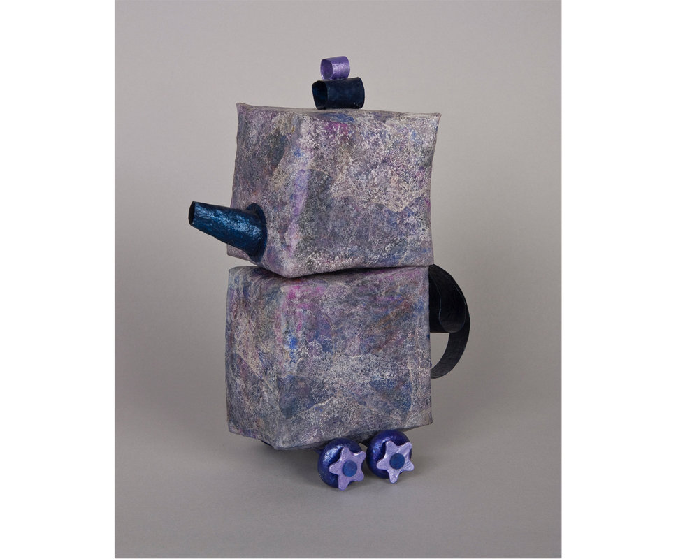 "Square Teapot on Wheels - 3""x6""x10"""