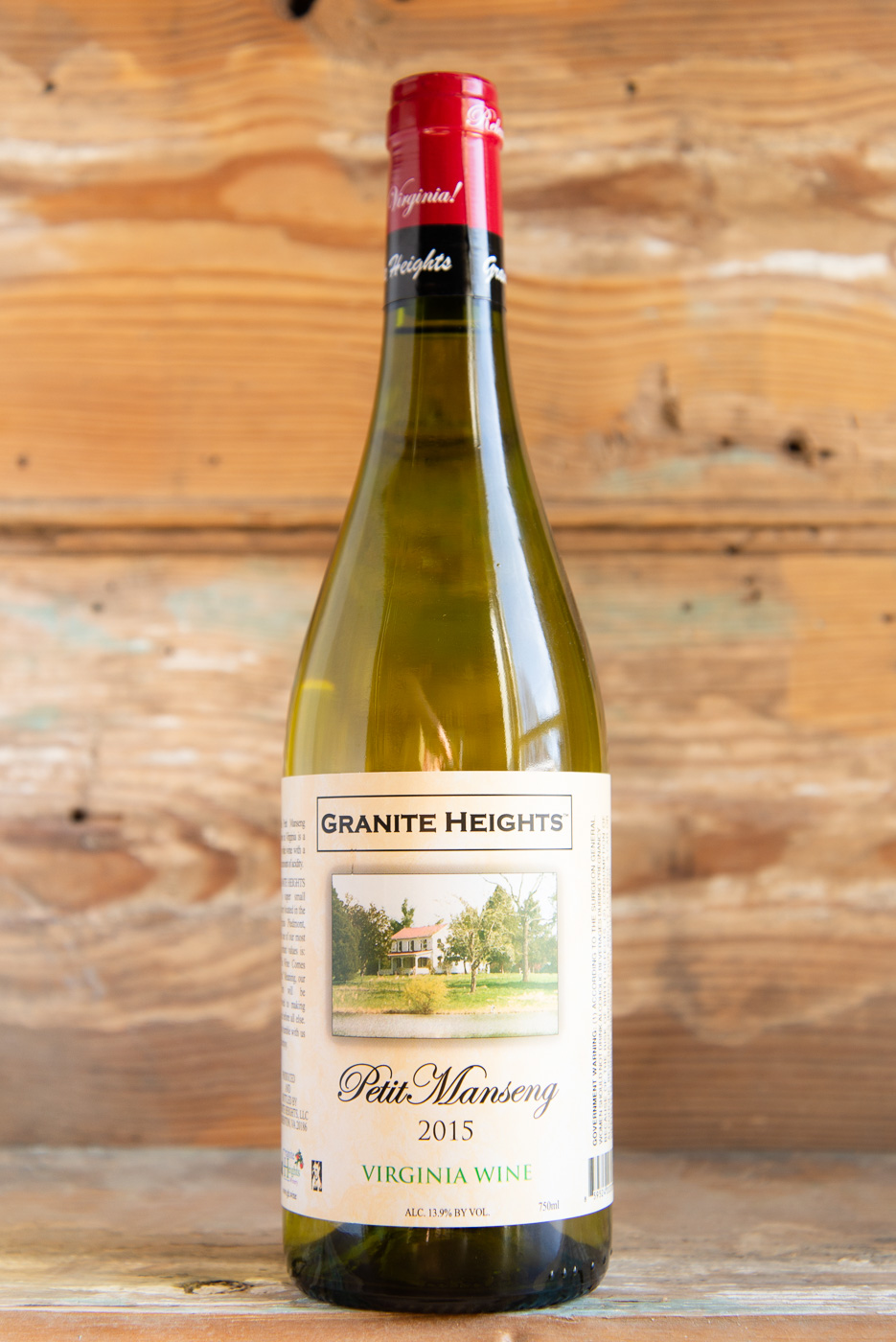 Granite Heights Petit Manseng 2015 - Origin: VirginiaRetail: $19.95 | Sale: $17.95Another offering from Granite Heights, this exotic white variety from southwestern France is grown almost nowhere else in the world. This dry style Petit Manseng expresses tropical fruits and pineapple on the nose with a balanced acid finish. It's fermented and aged completely in stainless. Pair with a variety of dishes including pork, chicken, turkey, or lamb.100% Petit MansengSilver Metal Winner 2017 Virginia Governor's Cup