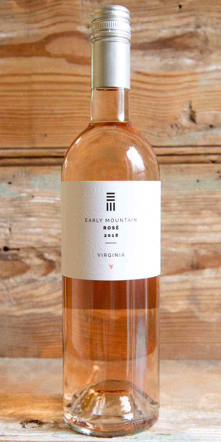 Early Mountain Rosé 2018 - Origin: VirginiaRetail: $19.95 | Sale $17.95The pale, salmon color of this wine primes you for the strawberries, white peaches and floral aromas and flavors. The acidity brings a brightness to the fruit and the wine lingers with wet stone and a pleasant citrus pith character. Created specifically to be food-friendly, there are not a lot of dishes that this rosé won't complement. Pair this fresh, bone-dry quencher with heavier, more fatty dishes like fried chicken and grilled salmon. Alternatively, the citrus and grapefruit notes pair beautifully with tangy goat cheeses or fresh ceviche.73% Merlot, 18% Syrah, 7% Malbec, 2% Cabernet Franc
