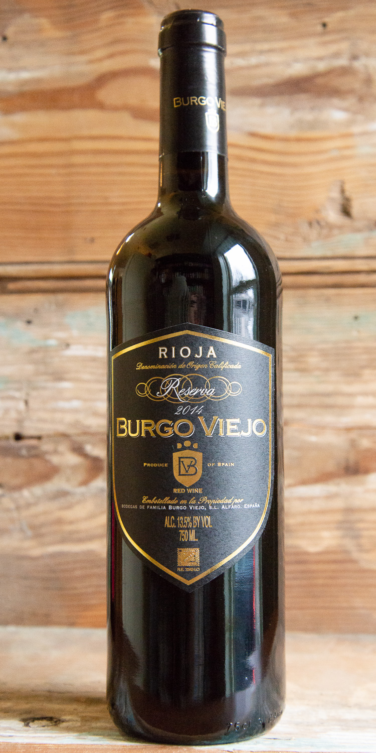 Burgo Viejo Reserva 2014 - Origin: SpainRetail: $17.95 | Sale $16.15Aged in a 50/50 combination of new and used French and American oak barrels for 18 months, this wine greets you in the glass with a vivid ruby-red color. An expansive, highly perfumed bouquet evokes ripe black and blue fruits, cola and toasty oak, with a slight floral undertone. Silky and broad on the palate, offering concentrated black raspberry, cherry-vanilla and coconut flavors that become more expressive with aeration. This is a solid Reserva with strong persistence and gently gripping tannins that will last 10 more years in the bottle.85% Tempranillo | 10% Graciano | 5% Mazuelo