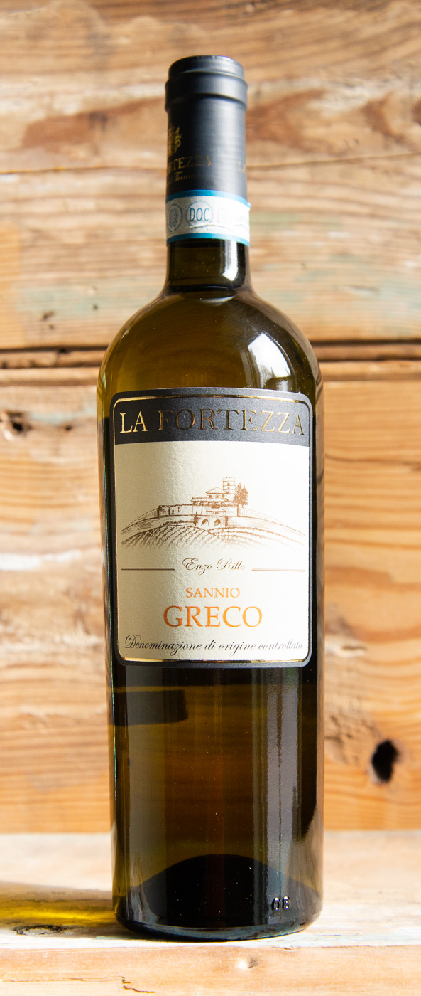La Fortezza Greco Sannio 2017 - Origin: ItalyRetail: $19.95 | Sale $17.95La Fortezza is located in the heart of Sannio Benevento and spreads over a total of 20 hectares of vines on the eastern side of the Regional Park of Taburno-Camposauro where there the slopes are a continuous alternation of vineyards, woods and small fields. The winery is born from the great passion of the founder Enzo Rillo for this land. White spring flower, ripe orchard fruit and Mediterranean brush aromas lead the nose on this fresh Greco. The vibrant palate doles out ripe peach, green apple and juicy citrus alongside crisp acidity. Long, very clean finish with some mineral character.100% GrecoSustainable92 Points James Suckling