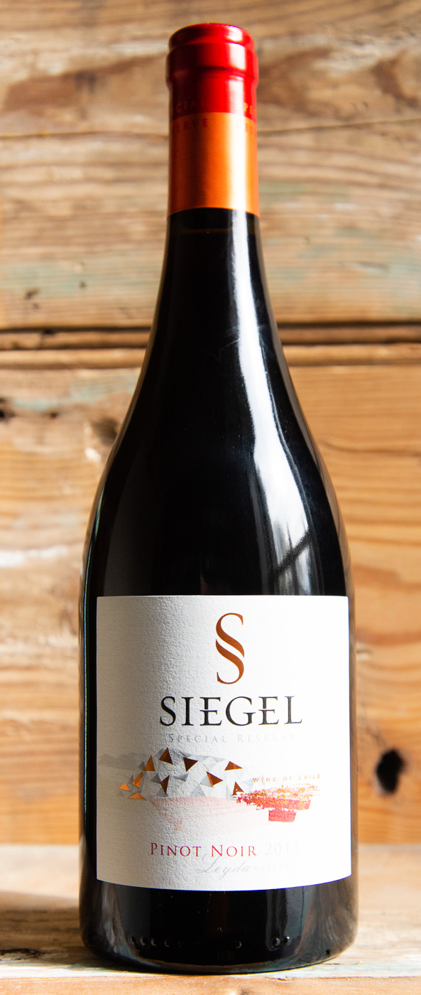 Siegel Special Reserve Pinot Noir 2015 - Origin: ChileRetail: $15.95 | Sale $14.35Viña Siegel is a family operated winery with a well-established tradition and long history. For generations they have been dedicated to the art of crafting wines with strong identities. Their Special Reserve wines represent the union of tradition and innovation in two generations. Aromas of rhubarb, herbs, and a hint of smokiness welcome you into the glass. The palate is fleshy, offering bitter cherry and red currant flavors and a touch of licorice. The finish is smooth with fine-grained tannins and a hint of candied rose.100% Pinot Noir