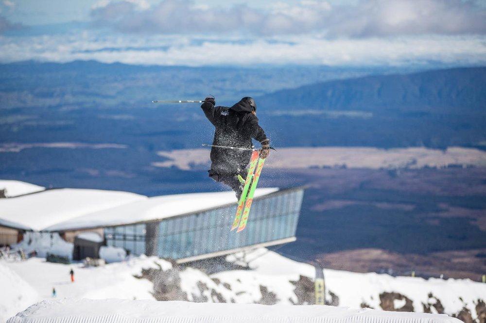 Skiing and spectacular views from Mt Ruapehu, Tongariro National Park, Waikato.