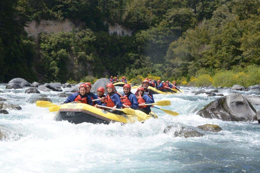 Rafting down the Tongariro River, Tongariro National Park, Waikato.