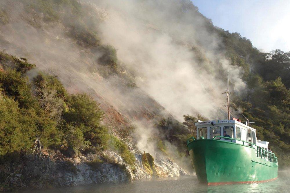 Waimangu Volcanic Valley Boat Cruise on Lake Rotomahana, Rotorua, Bay of Plenty.