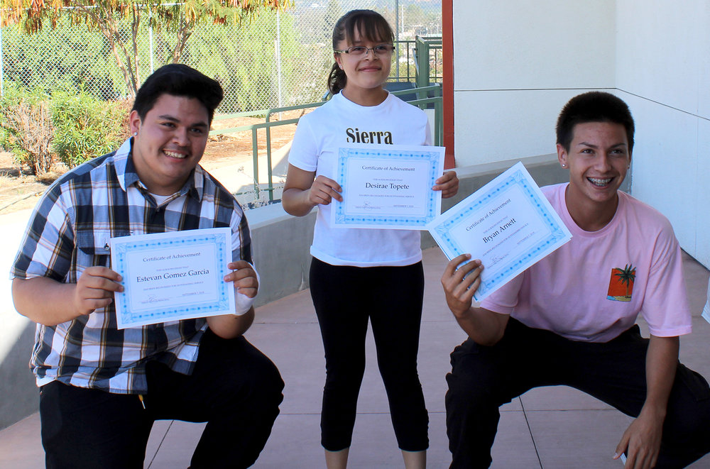 Sierra High students being recognized for their outstanding grades, citizenship, and attendance.