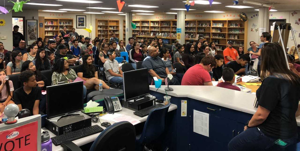 Mrs. DuBois explains AVID Tutorials to a great turnout of parents at Fillmore Middle School's AVID Parent Night on Wednesday September 26.