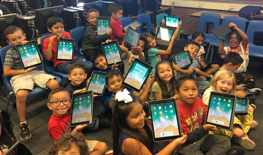 Students with their new iPads.