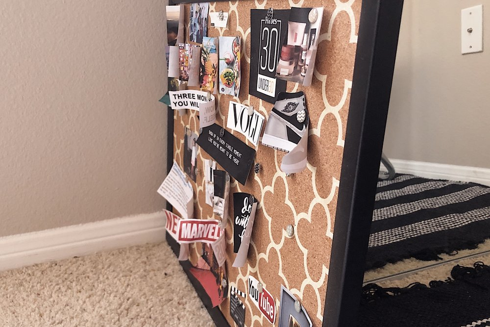 What eventually happens to a vision board if you pin photos onto cork!