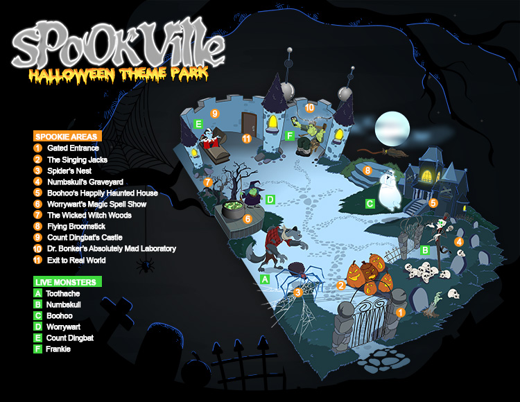 Map for Spookville: Halloween Theme Park