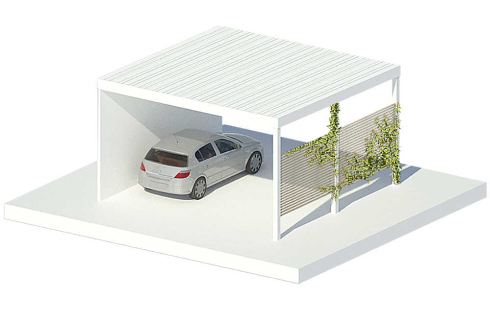 CARPORT - Car storage with a lighter footprint. Equipped with Electric car charging points, the Carport serves the same functions of the Garage, with a more lightweight aesthetic.