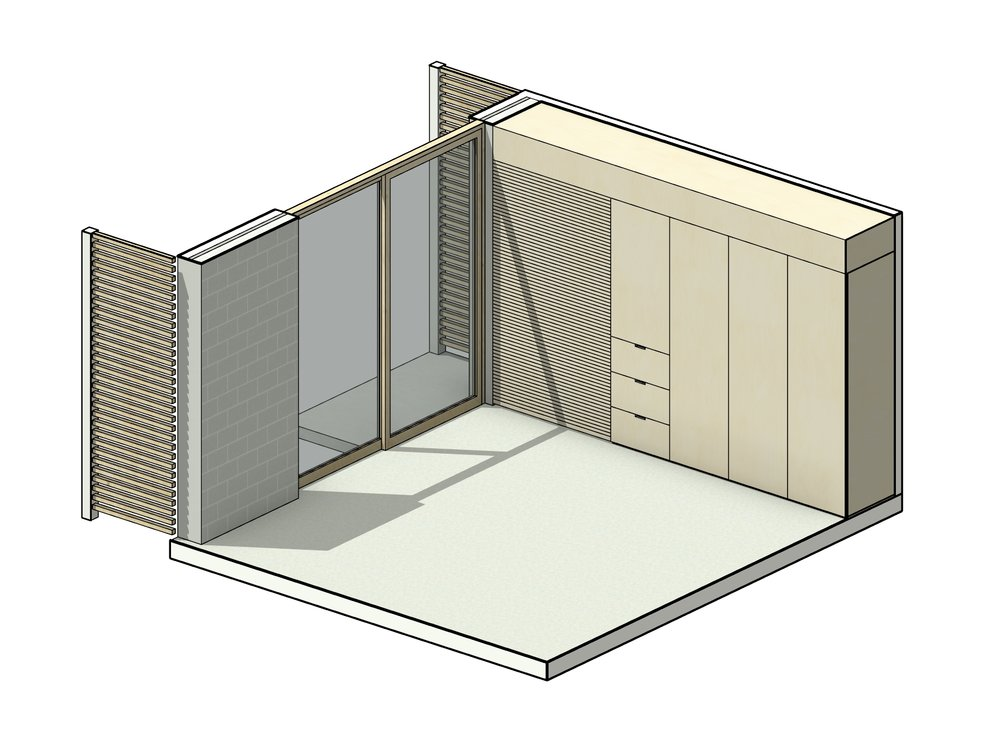 Pod - The Pod is our flagship module. Although it presents as a simple space, the Pod is dynamic, created to serve as whichever space is required, be it a Bedroom, Office, Music room, Art Studio or lounge. With considerable storage and concealed desk space, the Pod can be manipulated to serve any purpose.