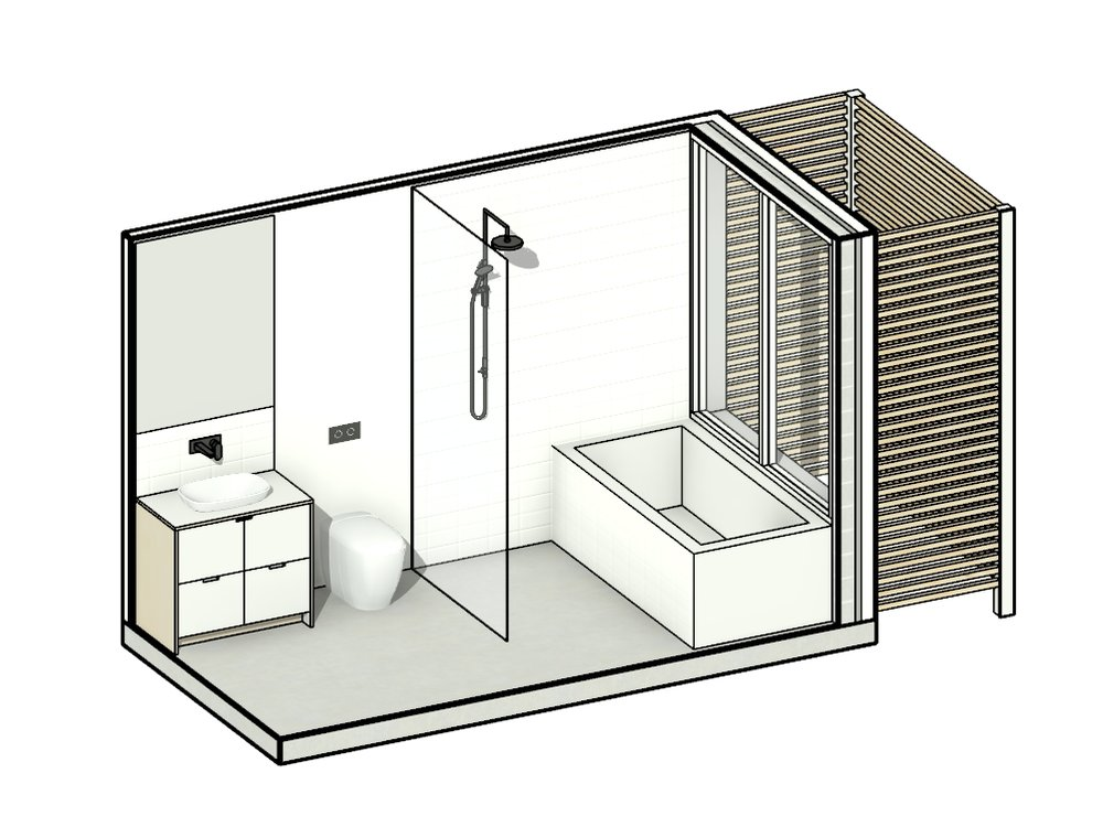 Wet - 2 - The Wet 2 module, like its bath-less cousin Wet 1, serves as both a stand alone bathroom and Ensuite. This module however comes with a single vanity, allowing space for the bath. The timber privacy screen and garden create a private haven, delivering the feeling of bathing outside.