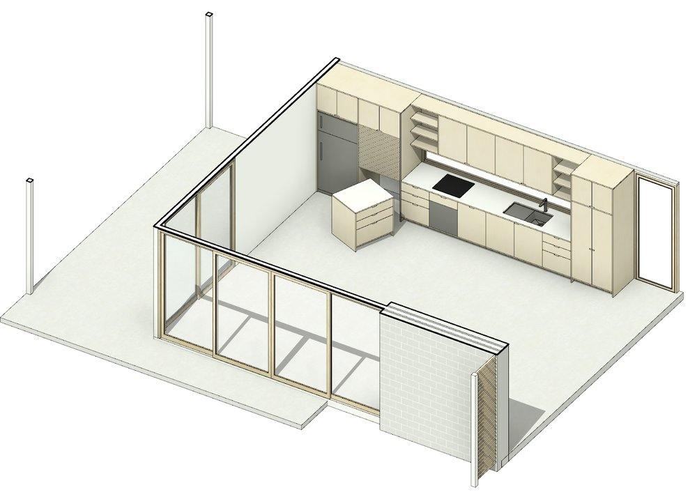 Nest - The Nest is the hub of the home. Our take on the typical contemporary living space. Much like the Pod, the Nest is dynamic and interchangeable. The kitchen, complete with a portable island bench and concealed appliance cupboard, emphasises functionality and provides for any situation.