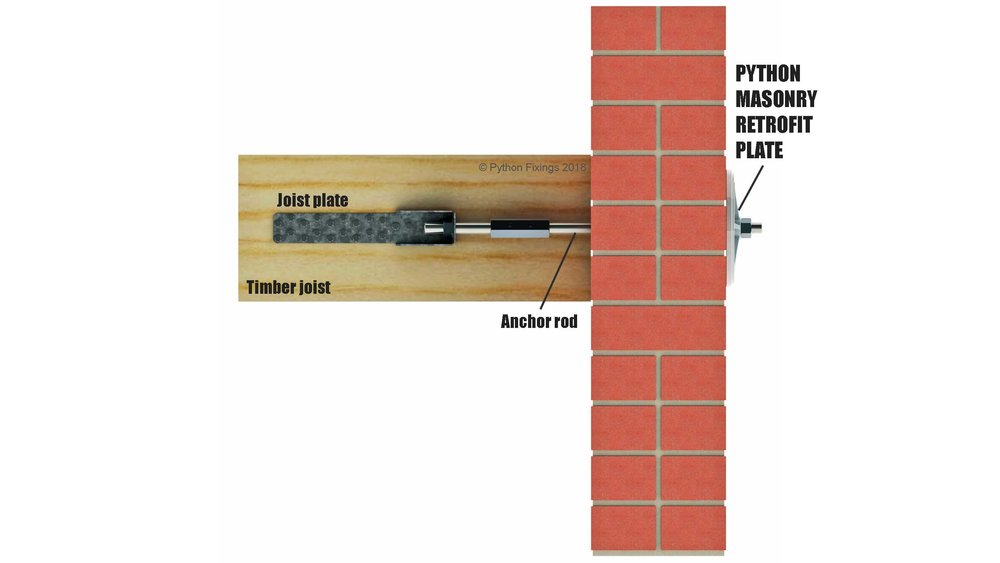 Schematic of wall-to-floor/roof connection using Python Masonry Retrofit Plates