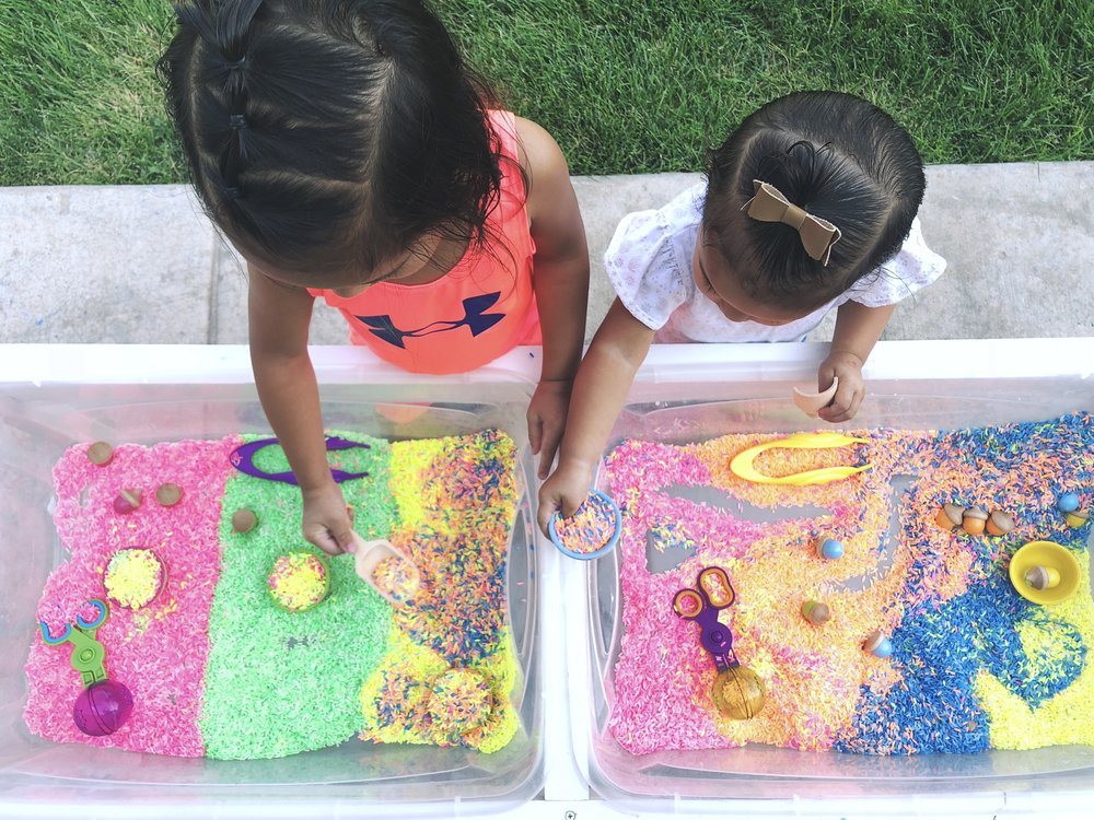 "See this colored rice activity in our ""Play"" section or by clicking  here"