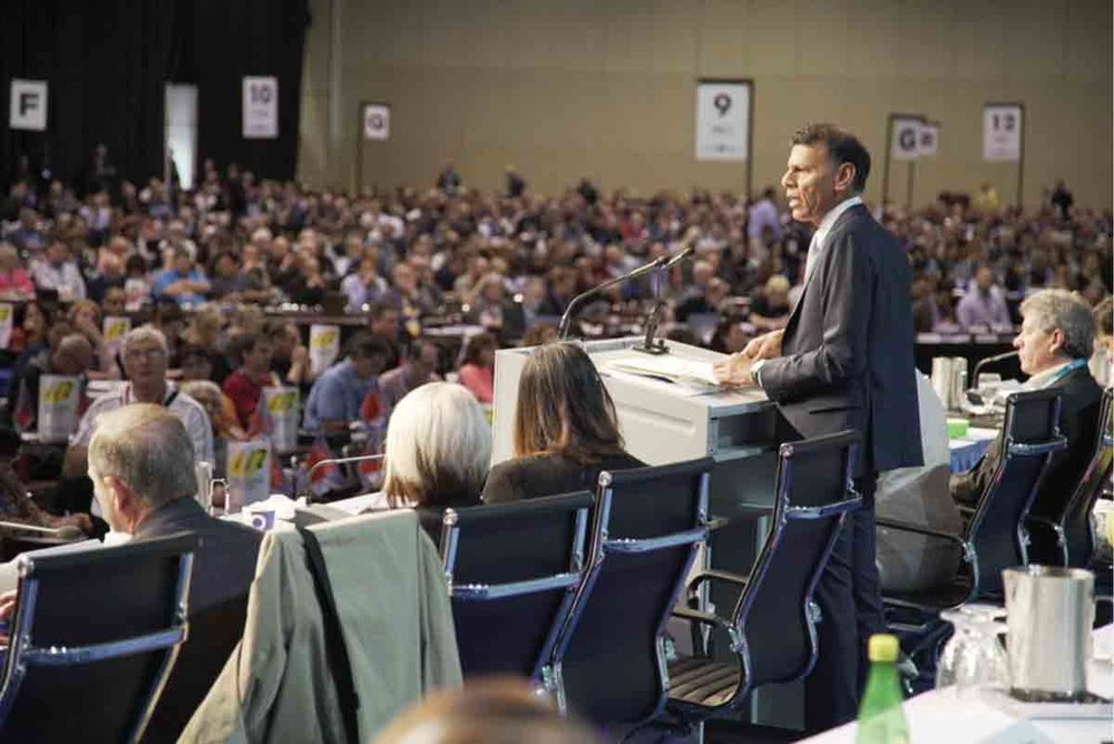 CLC president Hassan Yussuff addressing delegates in 2017 at the 28th Constitutional Convention in Toronto.  SUPPLIED