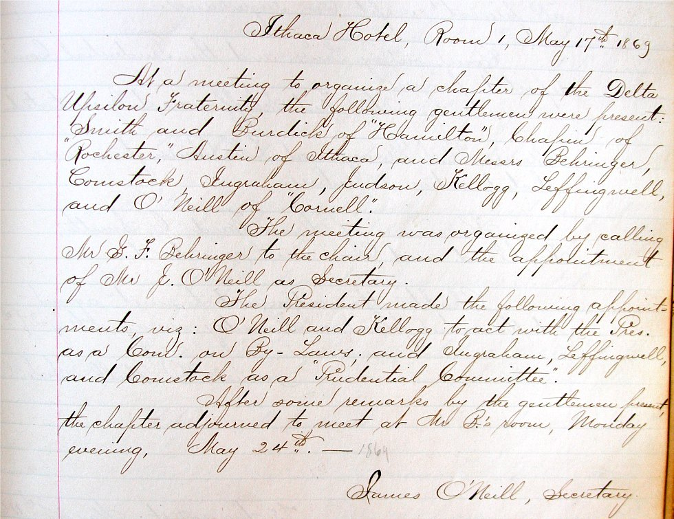 Minutes from Organizing Meeting, May 1869