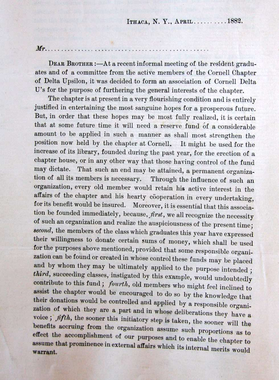 Alumni Circular Regarding CDUA's Founding 1882