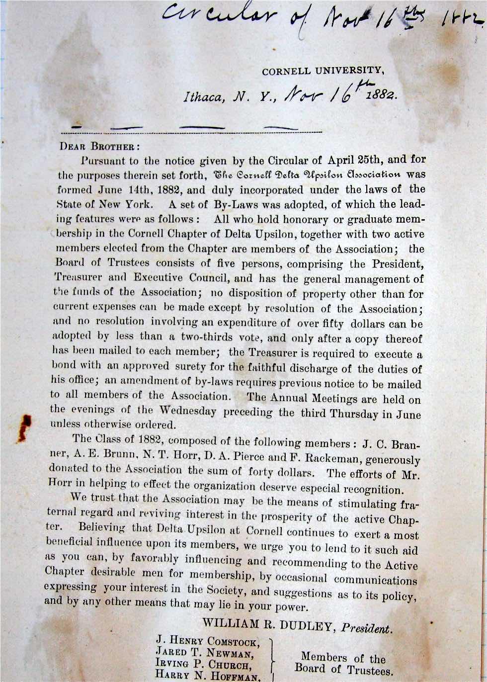 Circular Announcing CDUA 1882