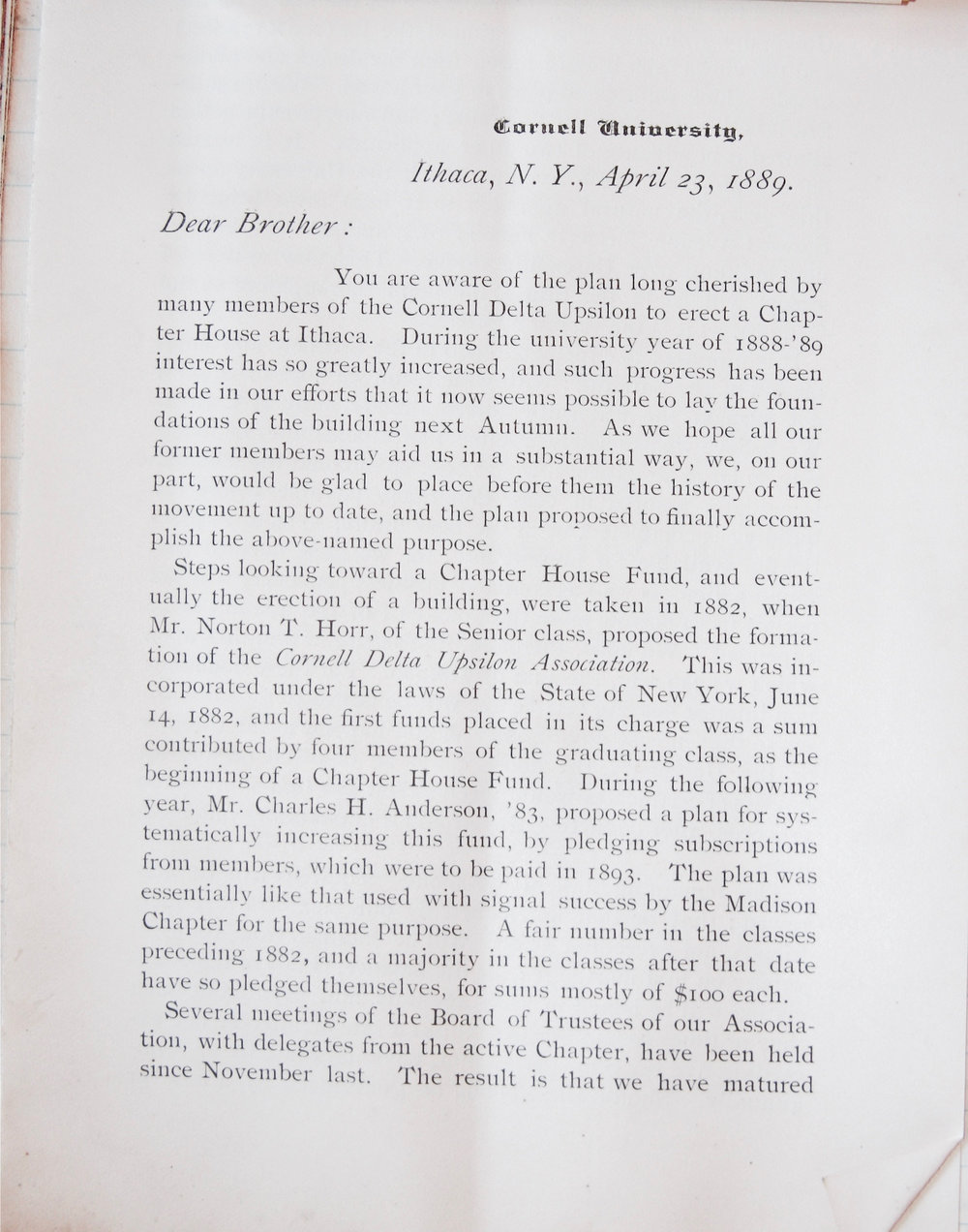 Circular About Building House | April 1889