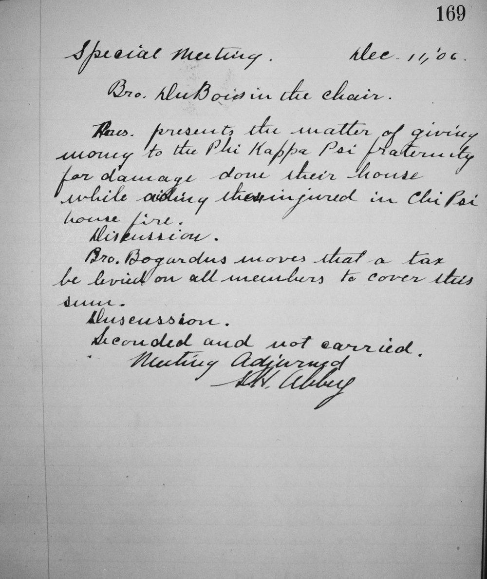 Chapter Meeting Minutes | Dec. 1906
