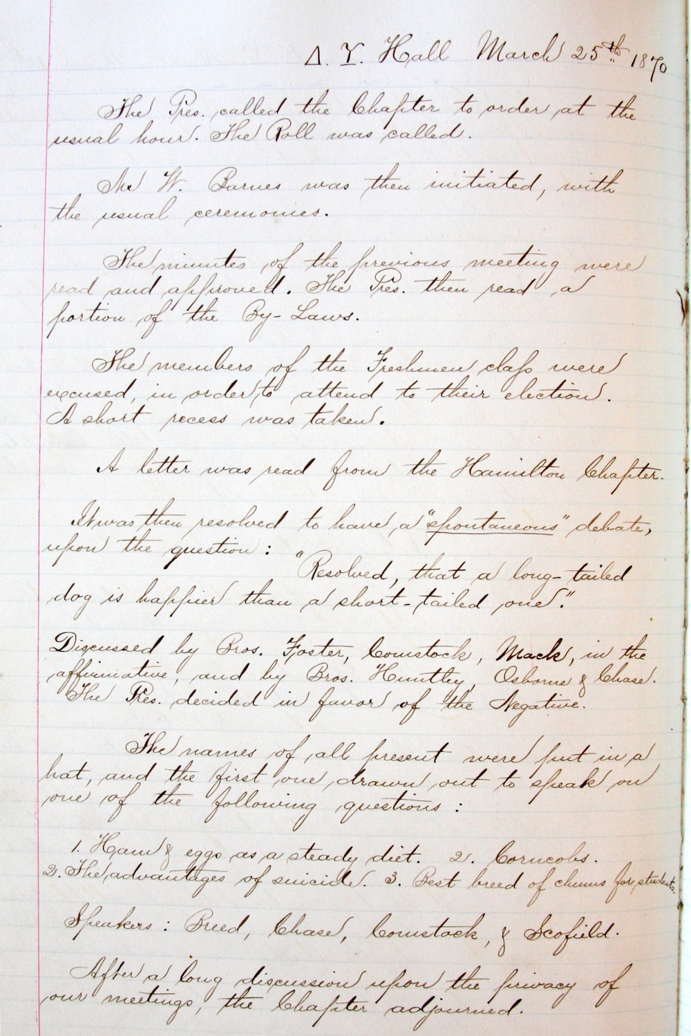 Chapter Meeting Minutes | 1870