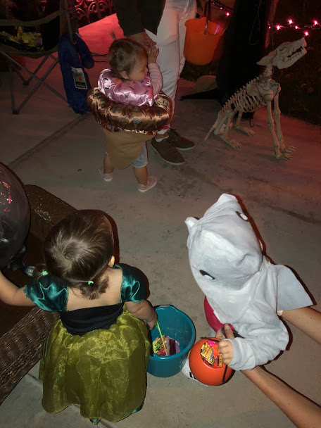 Izzy, then Kennedi dressed as a shark, and Maysen dressed as an ice cream cone!