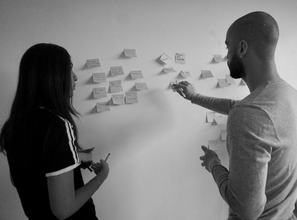 Deltagarna Ayda Malik och Eduardo Carvajal under workshopen.