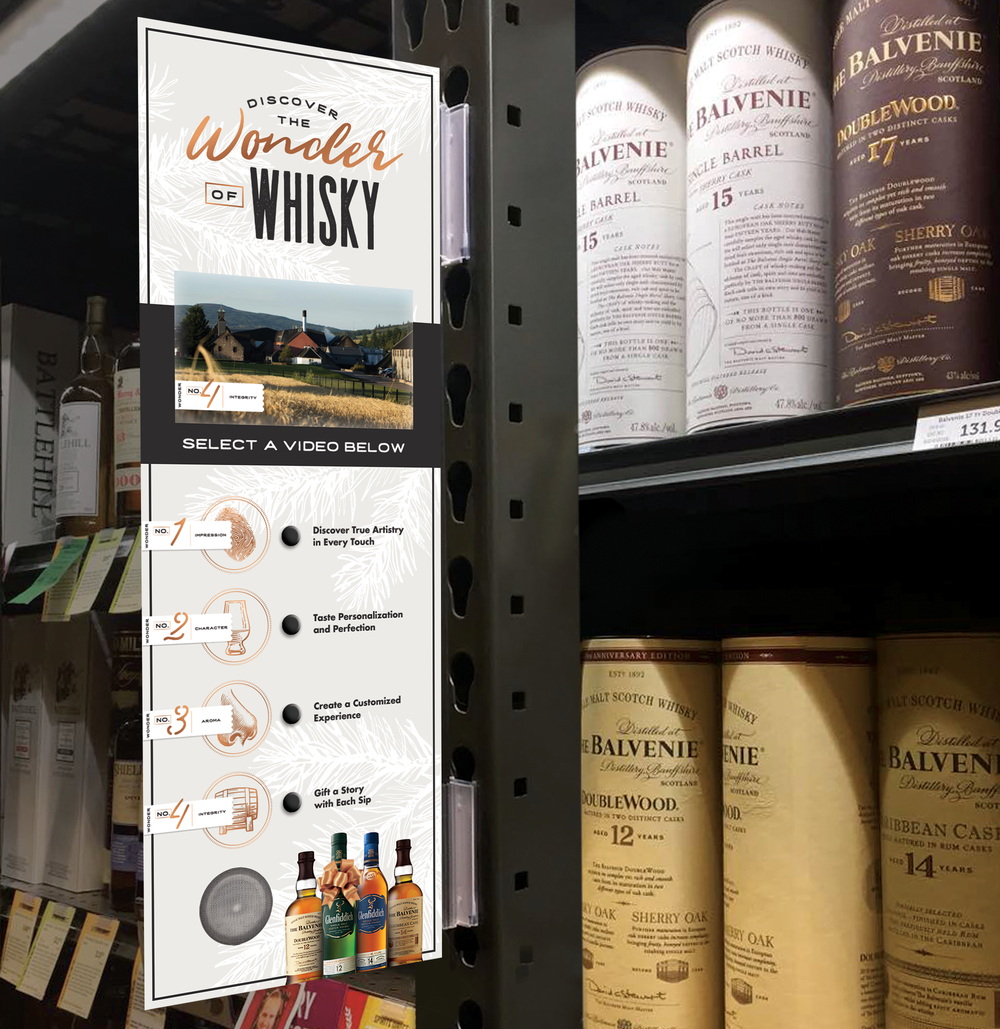 A video shelf vision in-aisle will encourage shoppers to learn more about the four wonders, each with an immersive short film. Shoppers will discover how to pick a truly personalized gift by watching the wonders of whisky at work.