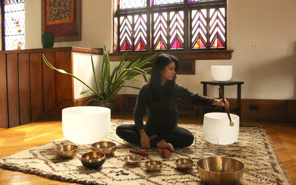 Crystal and Himalayan Singing Bowls