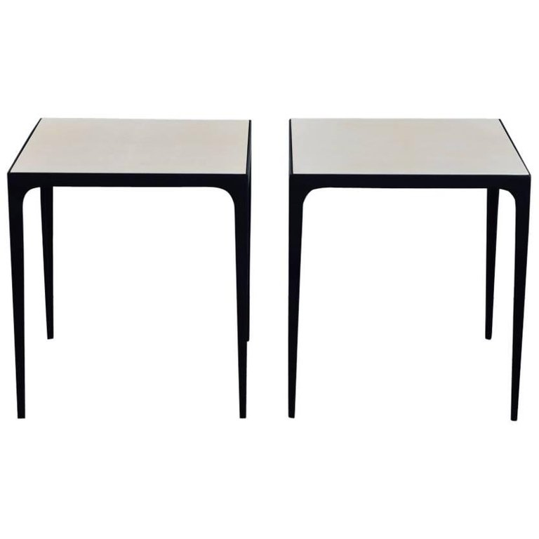 Ordinaire Pair Of U0027Esquisseu0027 Parchment And Wrought Iron Side Tables